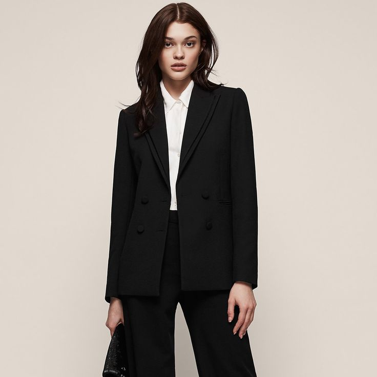 Ethie  Double-Breasted Blazer - REISS : The ethie double-breasted blazer in  plays its part in our iconic blazer collection and is available to buy online at REISS.