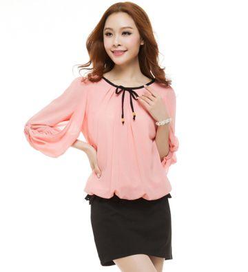 ladies blouses M-4XL chiffon vestidos casual free shipping plus size camisas femininas pink white three quater sleeve (E-wear)