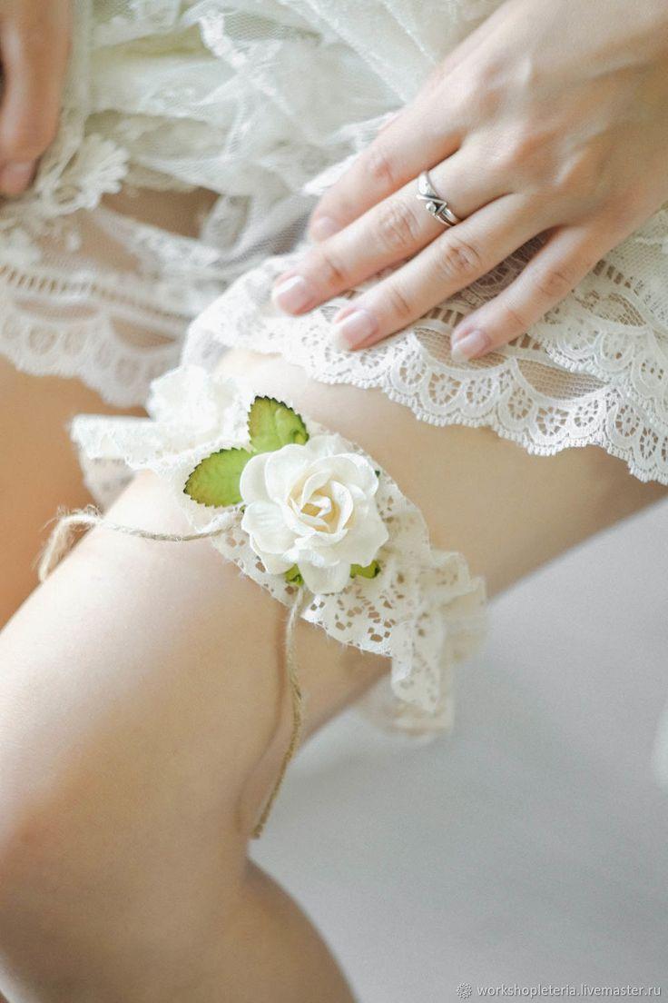 Wedding Garter   Подвязка с цветком, свадебная подвязка, в стиле рустик, эко, ботаник в интернет магазине на Ярмарке Мастеров
