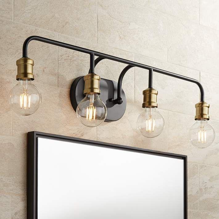 Possini Euro Aras 28 1 2 Wide Black, Possini Bathroom Lighting