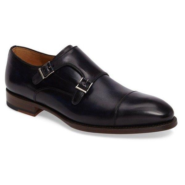 Men's Magnanni Evan Double Monk Strap Shoe (925 BRL) ❤ liked on Polyvore featuring men's fashion, men's shoes, men's dress shoes, navy, mens navy shoes, mens cap toe shoes, navy blue mens shoes, mens shoes and mens dress shoes