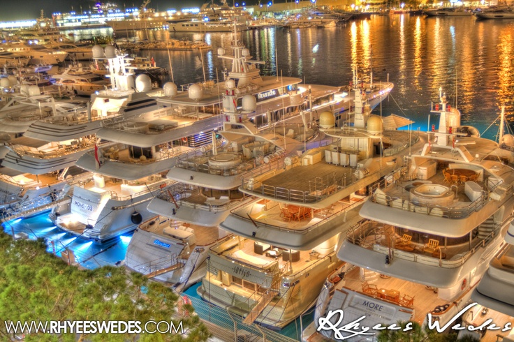 Monaco Superyachts Glistening In The Night!!!...