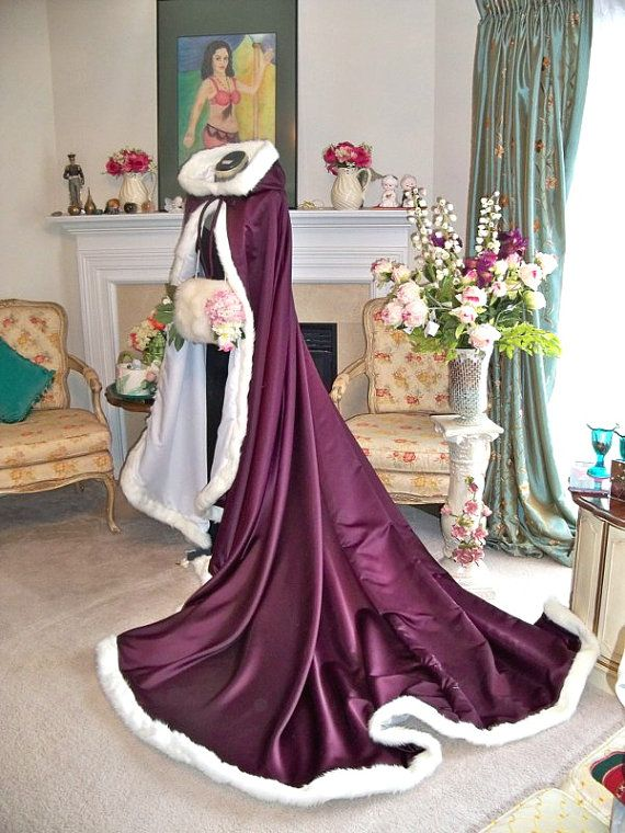 Beauty and the Beast 96 inch Grape / White Satin Bridal cape with Fur Trim Wedding Cloak Handmade in USA on Etsy, $268.99 AUD
