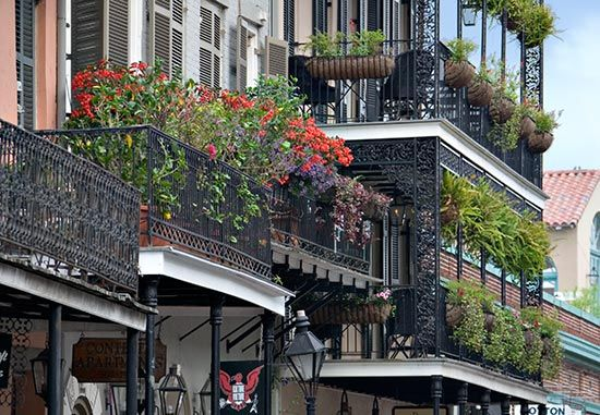 Balconies in New Orleans French Quarter sometimes resemble tropical gardens.
