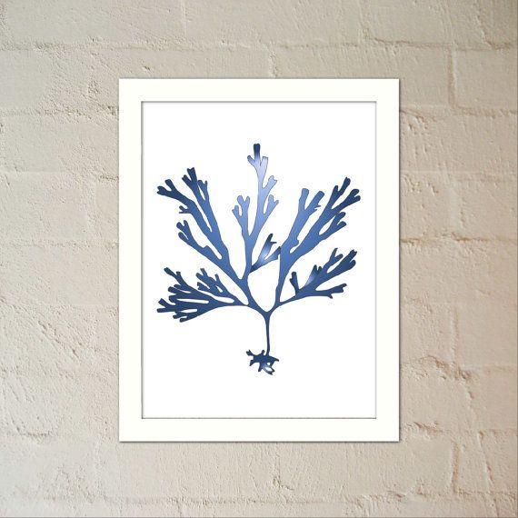 Seaweed 3 in Indigo  Wall Art Poster PDFJPG Jpeg by paper4download