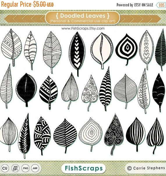 46 Hand Doodled Blätter ClipArts im PNG-Format. D…