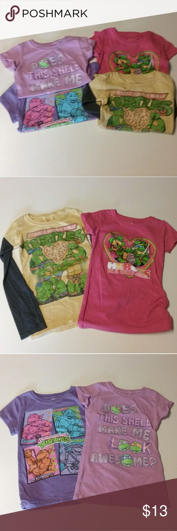 Ninja Turtle Shirt Lot Girls Ninja Turtle shirts... 4 shirts total, 3 are short sleeve, all in great shape, sz M (8)). Bundle and save! Nickelodeon Shirts & Tops