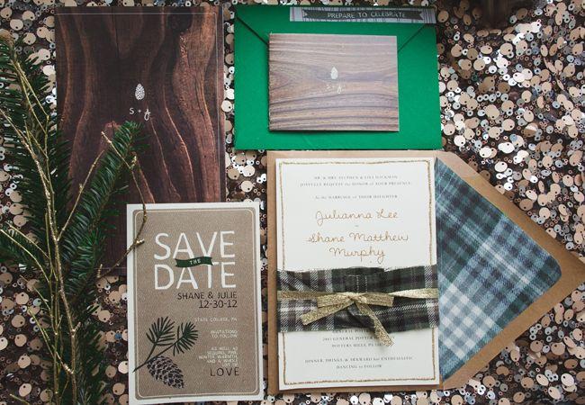 Winter-inspired wedding invitations  Lauren Fair Photography   http://www.theknot.com/weddings/album/a-rustic-glam-wedding-in-state-college-pa-142917?cm_mmc=twitter-_-dec2014-_-blog-_-weddinginvites