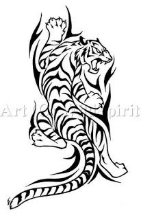 Climbing Tribal Tiger tattoo art