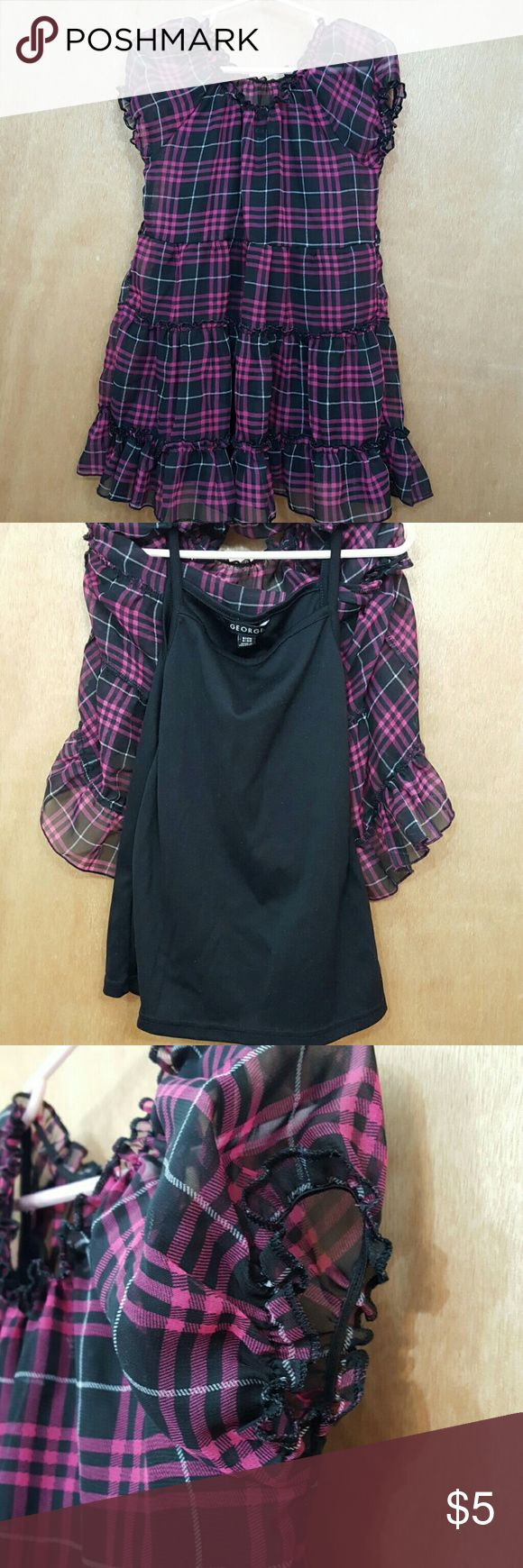 Girls 2-Layered Pink and Black Plaid shirt Size 6x Pre-loved girls pink and black plaid shirt in a size 6x.  The inner layer is a black tank top and the top layer is see-thru.  Such a cute piece. George Shirts & Tops Blouses