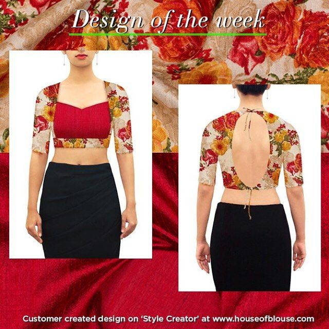 A two body sweetheart style blouse so beautifully customised! Another creative customer fabulously combined a floral raw silk with a plain red to get a droolworthy result. We cannot seem to get enough of our customers creativity. Give us more! :) Go ahead...get inspired and give our STYLE CREATOR a whirl! Custom design in ways you can only imagine. #customercreation #houseofblousedotcom #blouse #sweetheart #floral #rawsilk #red #body #yourblouseyourway