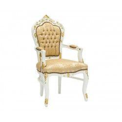 Poltrona sedia barocco bianco oro Luigi XVI braccioli legno gemme