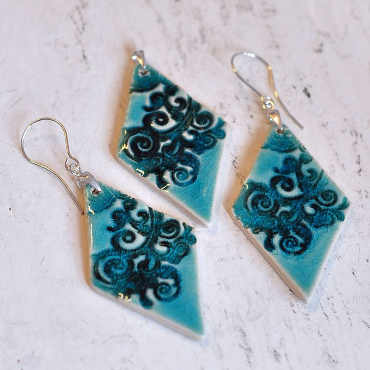 Zu Design  #turquoiseearrings #ceramicjewelry #turquoisejewelry
