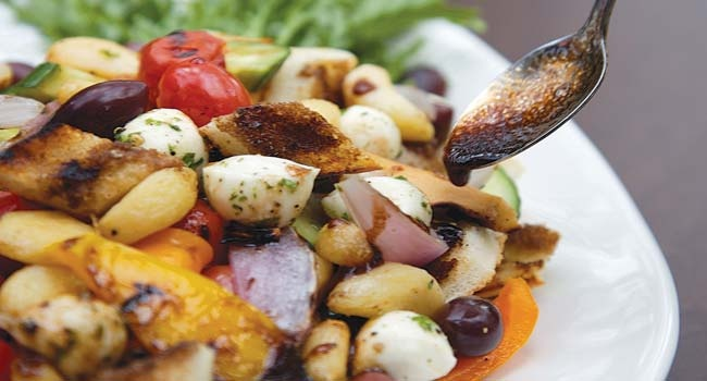 Bread Salad With Charred Tomatoes, Cucumber And Olives ...
