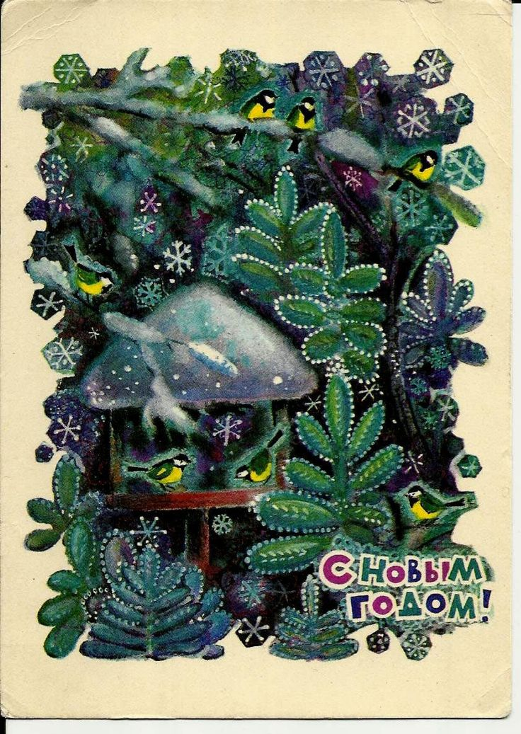 Birds, Winter, New Year, Forest, Vintage Russian Postcard USSR print 1970 by LucyMarket on Etsy