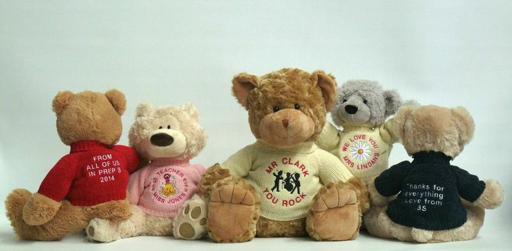 Gift ideas for teachers?  Look no further.  Personalise a teddy bear for your teacher to thank them and tell them how special they are.
