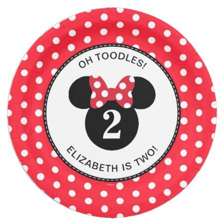 Minnie Mouse | Red & White Polka Dot Birthday Paper Plate - click/tap to personalize and buy