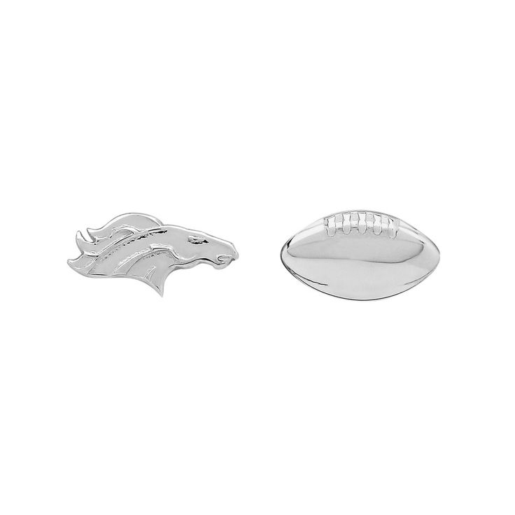 Denver Broncos Team Logo & Football Mismatch Stud Earrings, Women's, Silver