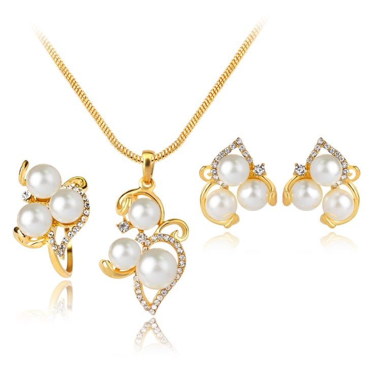 Fine Wedding Bridal Jewelry Sets Fashion  Yellow Gold-color Simulated Pearl Flower Chain Statement Necklace Earrings Ring