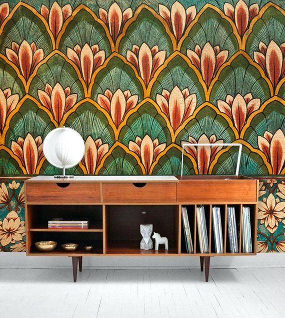 Grunge Floral Wallpaperhome Decorwall Decalremovable Peel Etsy Wallpaper Walls Decor Wallpaper Forest Wall Mural