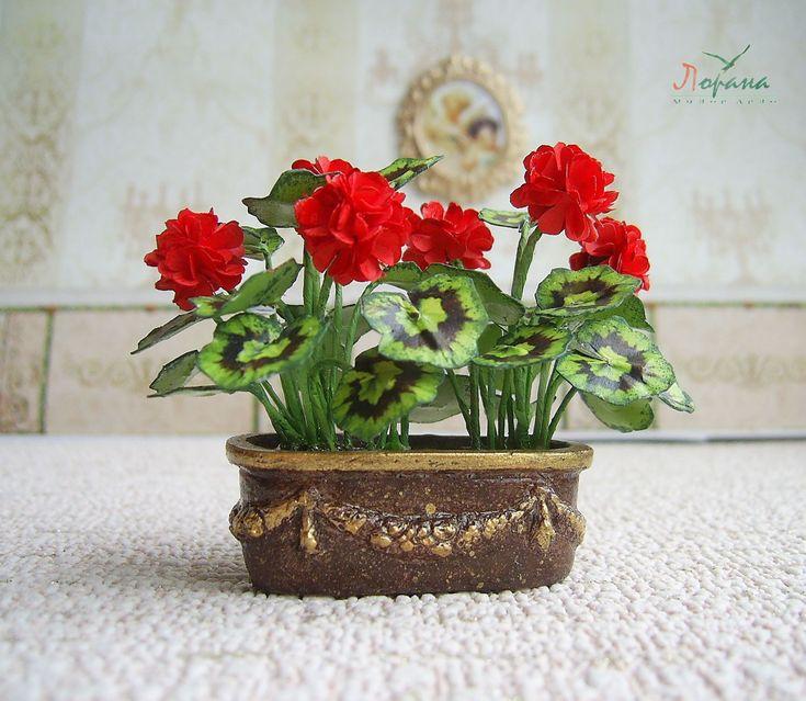 """Купить Кашпо """" Красная Герань"""". - миниатюрные цветы, миниатюрные растения, миниатюрные деревья"""
