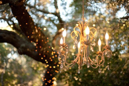 chandelier and lights in a tree : ): Outdoor Chandelier, Lights, Ideas, Outdoor Garden, Tree, Wedding, Chandeliers, Gardens