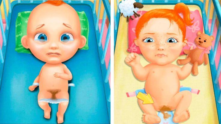 Мультики КАК МАМА Малыш ПУПСИК ОБКАКАЛСЯ и купается в ванной Меняем ПОДГ...