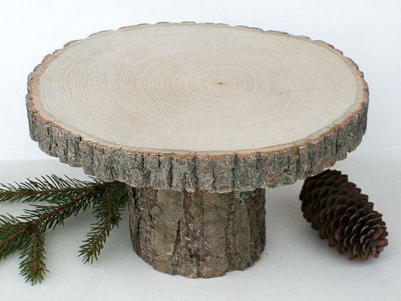 """Rustic 8"""" Wood Stand. Rustic Cake Stands. Rustic Centerpiece. Natural Wood Slab…"""