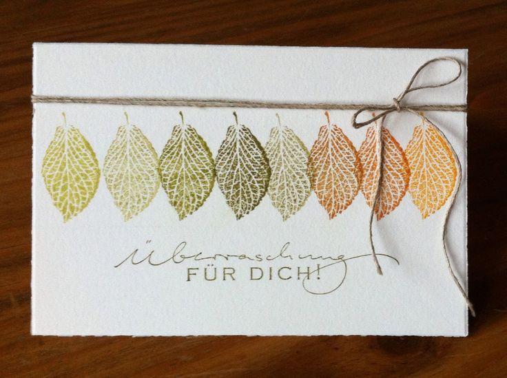 """Die schlichte Karte: Noch zwei Herbstkarten """"French Foliage"""" von SU,   Schriftsstempel Alexandra Renke"""