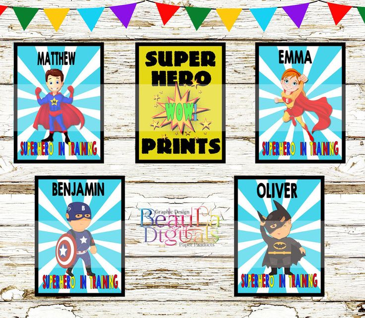 Superhero 2 Wall Deco Print Personalized - Glossy 300dpi Custom A4 or other size