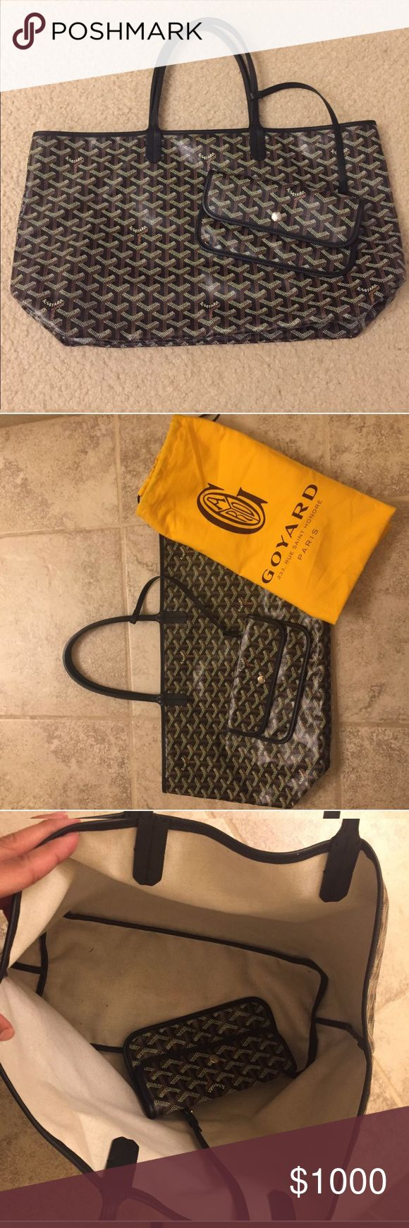 "Authentic Goyard St. Louis PM Goyard Saint Louis Tote PM Measurements: 19 x 6 x 10 inches Color- Black  Description: Gently Used Two shoulder straps with a 7"" drop Small pouch Dust bag included slightly used with no signs of wear or tear There is a small mark inside the bag ( see attached picture) Made in France Goyard Bags Totes"