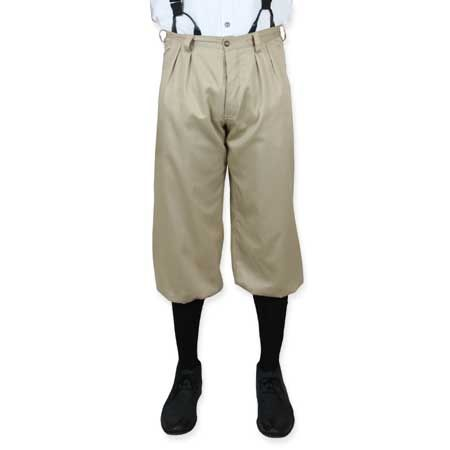 Victorian Mens Brown,Tan Cotton Solid Knicker | Dickens | Downton Abbey | Edwardian || Mens Knickers - Khaki Twill