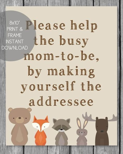 """FREE Printable Address Request Baby Shower Sign - Woodland Animal Theme: Have baby shower guests pre-address their thank you cards - to help the new mom out! 8x10"""" printable address sign PrintItBaby.com"""