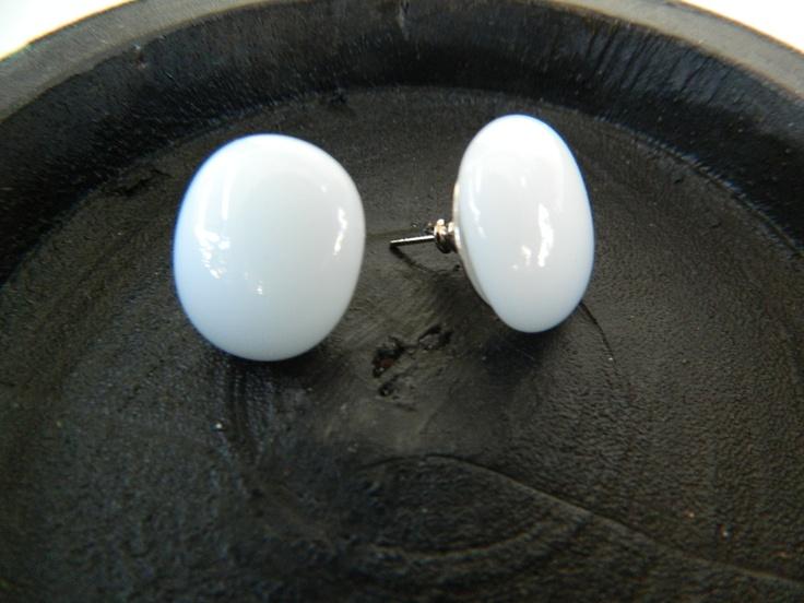 Fused glass white earrings