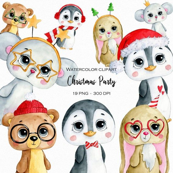 Watercolor Cute Winter Christmas Party Animals Clipart Png Digital Download Sublimation Graphics Children Printables Planner Stickers In 2021 Clip Art Animal Clipart Planner Stickers