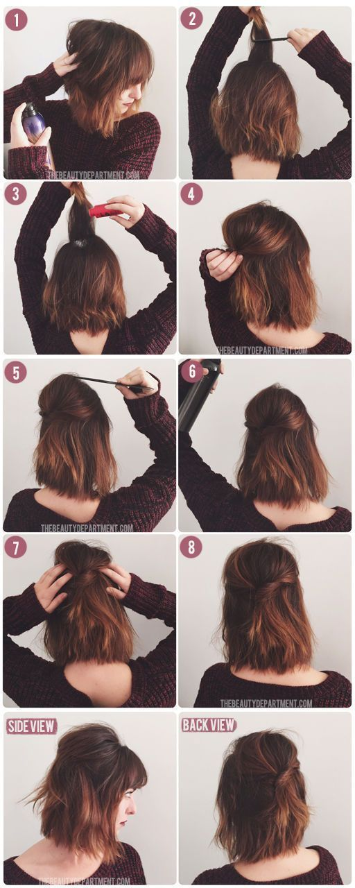 Best Short or medium length hair styles - DIY Wedding Hairstyles for Brides. But leaving your hair down all the time? That gets boring fast. I recently chopped a few inches off of my longish hair for a lob with choppy ends.