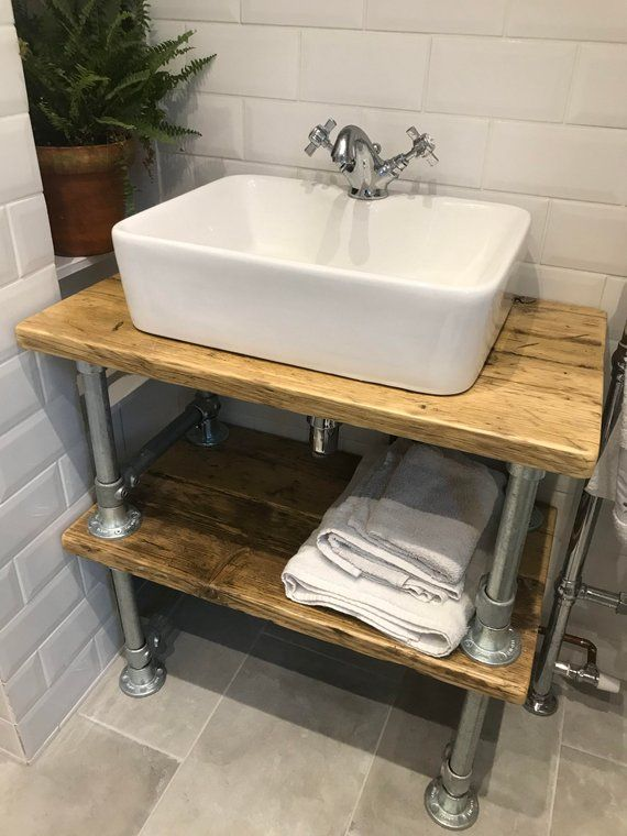 Rustic Industrial Sink Vanity Unit Constructed From Reclaimed Etsy Industrial Sink Vanity Industrial Sink Industrial Sink Bathroom