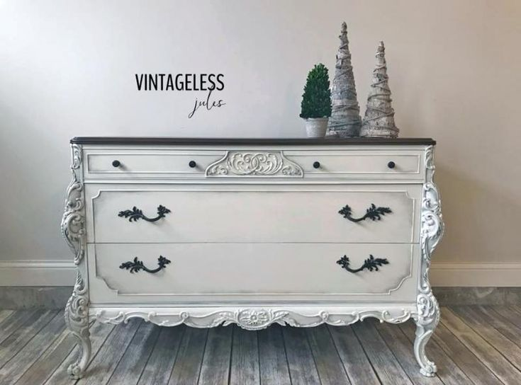 Antique White and Antique Walnut Dresser | General Finishes Design Center
