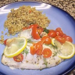 One-Dish Rockfish Recipe - I made this last night with Salmon and I swear it is the best fish dish I ever eaten or made! Used buttery dill seasoning, regular tomato, no onion and I would suggest putting a ton more spinach cause it is so tasty! So easy and so healthy!