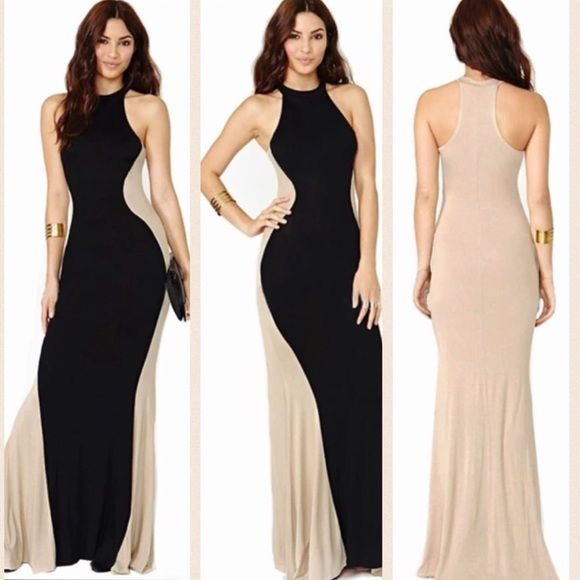 Long gorgeous dress Beautiful black and nude long dress. Gives the illusion of that perfect Coke bottle shape!!! Dresses