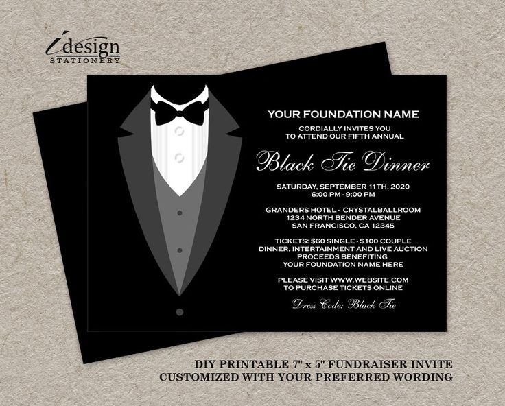 Black Tie Dinner Fundraising Invitations By iDesignStationery on Etsy