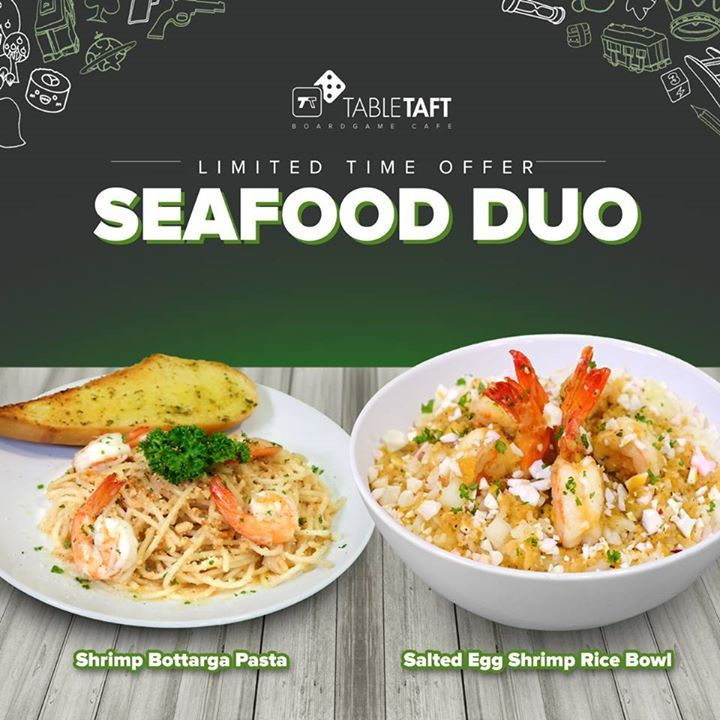 For a limited time only, try our new SEAFOOD DUO! 🍴  Enjoy the Seafood Bottarga Pasta and the Salted Egg Shrimp Rice Bowl while having some awesome boardgame fun at #TableTaft! 🎲  Tag your friends who HAVE to treat you! 😉 #fashion #style #stylish #love #me #cute #photooftheday #nails #hair #beauty #beautiful #design #model #dress #shoes #heels #styles #outfit #purse #jewelry #shopping #glam #cheerfriends #bestfriends #cheer #friends #indianapolis #cheerleader #allstarcheer #cheercomp…