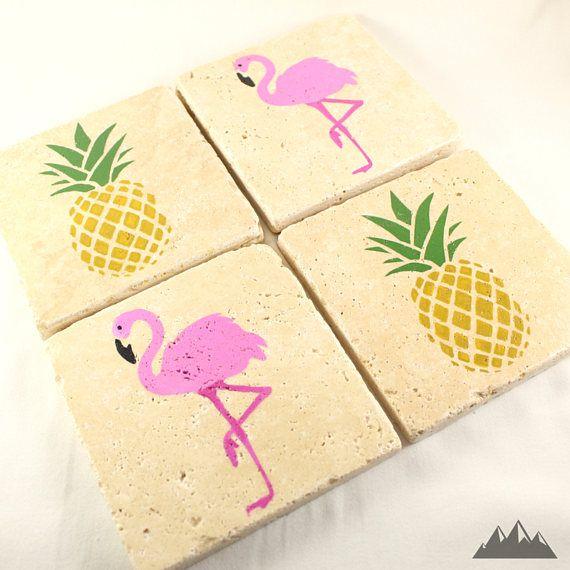 TROPICAL COASTERS  Stone Coasters  Flamingo Coasters