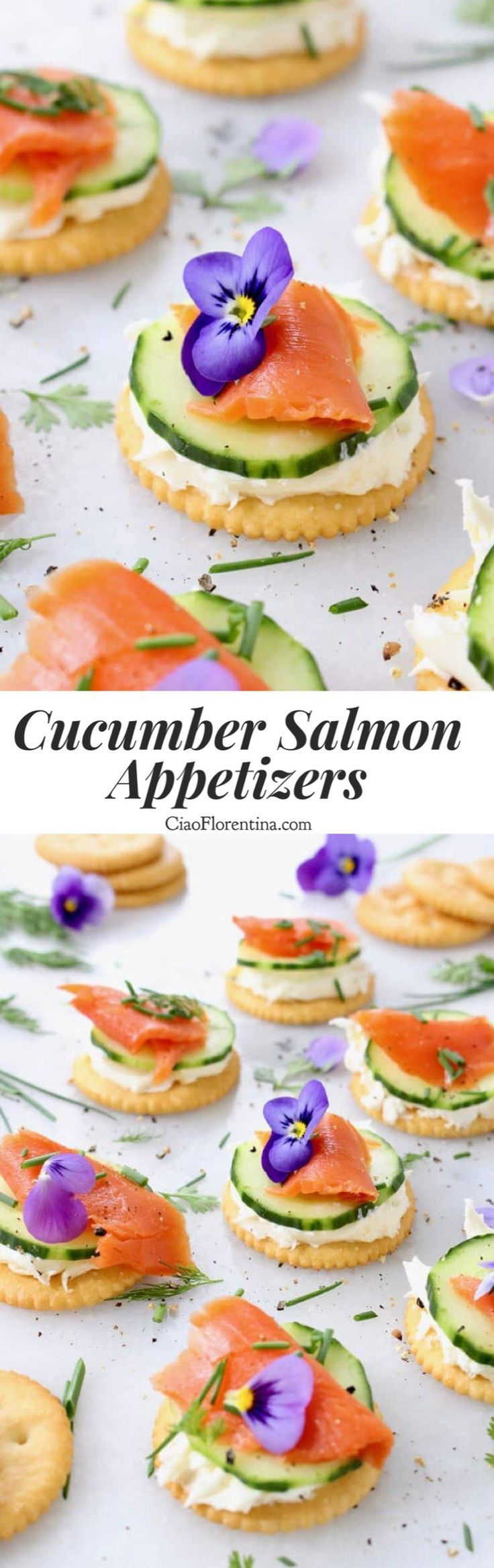 Cucumber Salmon Appetizers, 5 ingredients, quick and easy, perfect for a garden brunch and Mother's Day CiaoFlorentina.com @CiaoFlorentina