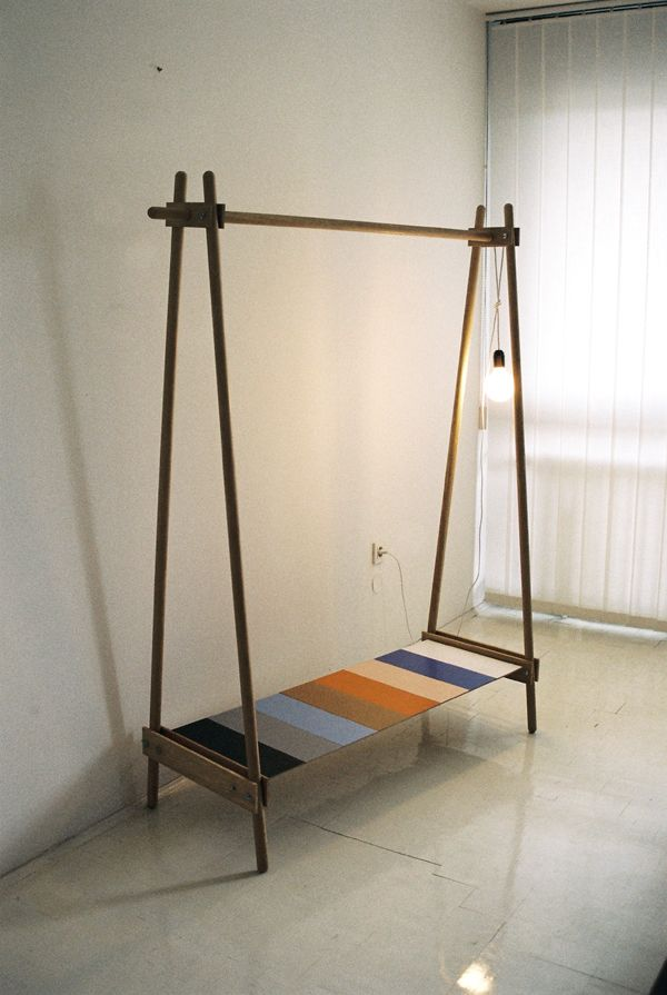 'clothing stand is an object often used by young people, students, people living in small spaces and moving a lot. there is a bunch of bad quality and complicated plastic/steel stands in the market. this project was initiated by my friends who asked me to design a simple wooden stand - cheap and easy to be made.' - ana kraš