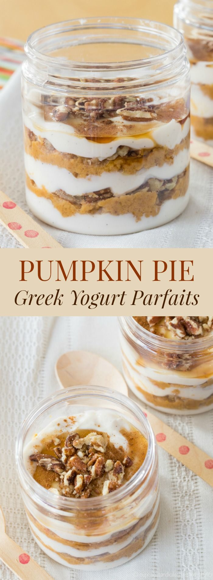 Pumpkin Pie Greek Yogurt Parfaits - an easy recipe for dessert, snack, or breakfast to use up leftover pumpkin pie.