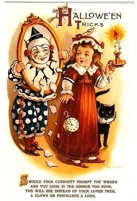 VINTAGE HALLOWEEN POSTCARD - GIRL WITH CANDLE...