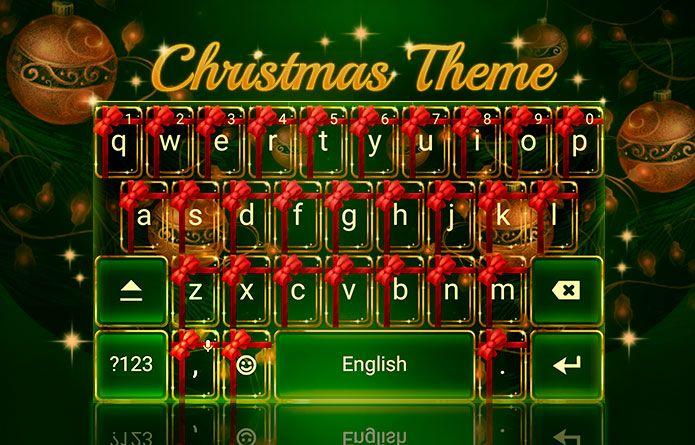 Cute Christmas & Winter Ornaments Android Theme! #cute #christmas #redrawkeyboard #winter #ribbons #green