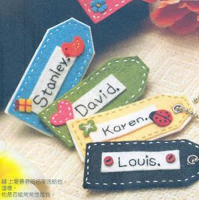 tutorial for embroidered felt name tags - Name Tag Design Ideas