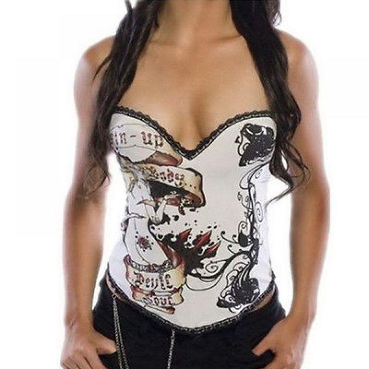 White Lace Up Goth Punk Rock Hook Tattoo Boned Lady Corset Bustier G ...